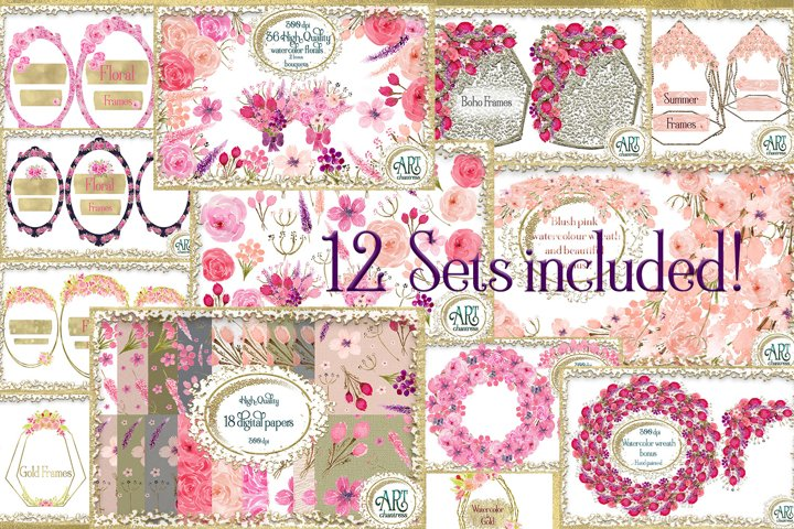12 Sets Bundle-Graphics&Digital Papers,wreaths,floral frames