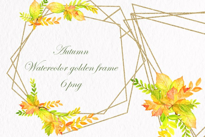 Watercolor Leaves. Gold Frames. Wedding invite card DIY PNG