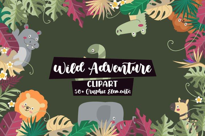 Wild Adventures Illustration Vector Clip Art