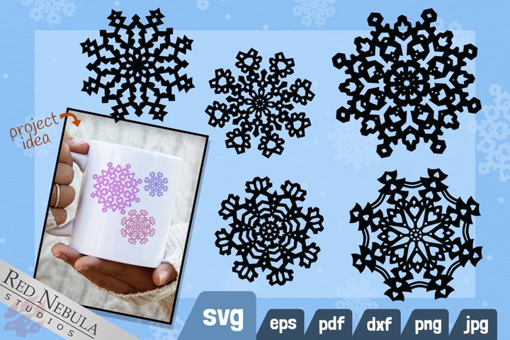 Ornate Snowflake SVG   5 Christmas & Winter Holiday Clipart