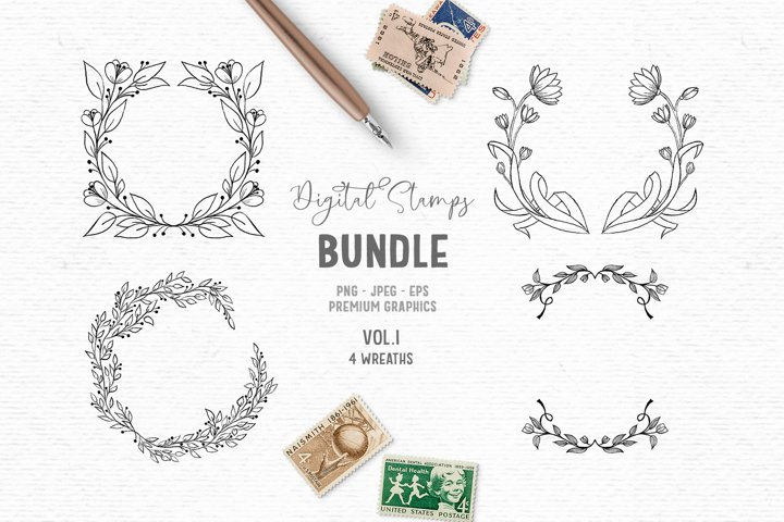 Hand-drawn digital stamp bundle | Boho flower frame clipart