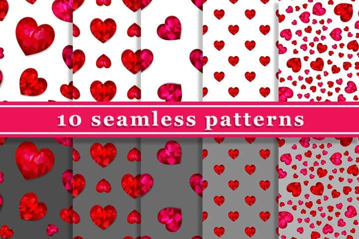 10 seamless patterns with red hearts