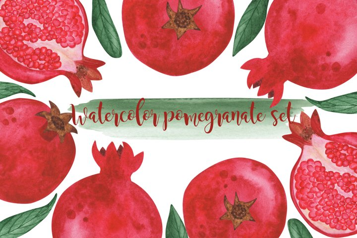 watercolor pomegranate set