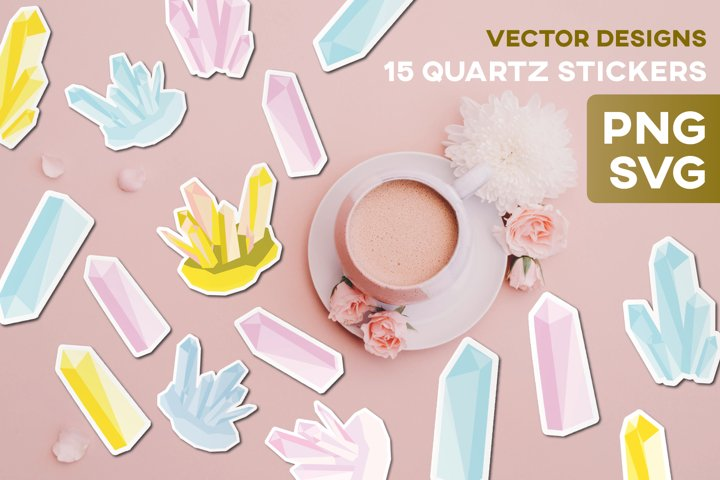 Quartz Crystal Stickers SVG Rose Stone Mineral Craft Vector