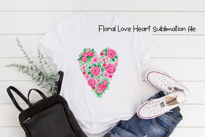 Watercolor love floral heart clipart.
