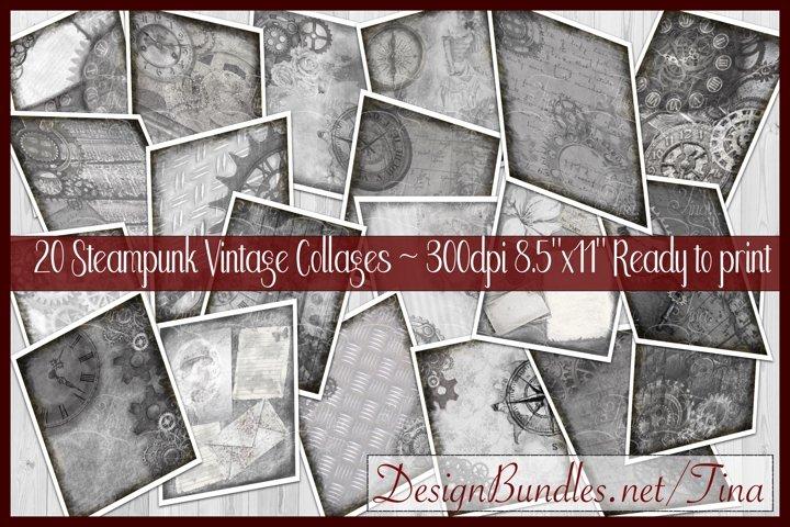 Steampunk In Gray Gears Cogs Clocks Vintage Keys Collage