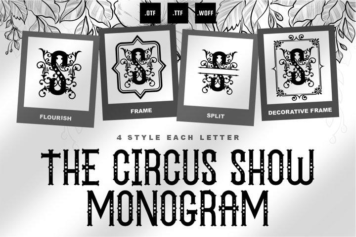 The Circus Show Monogram Font - 4 Style Monogram