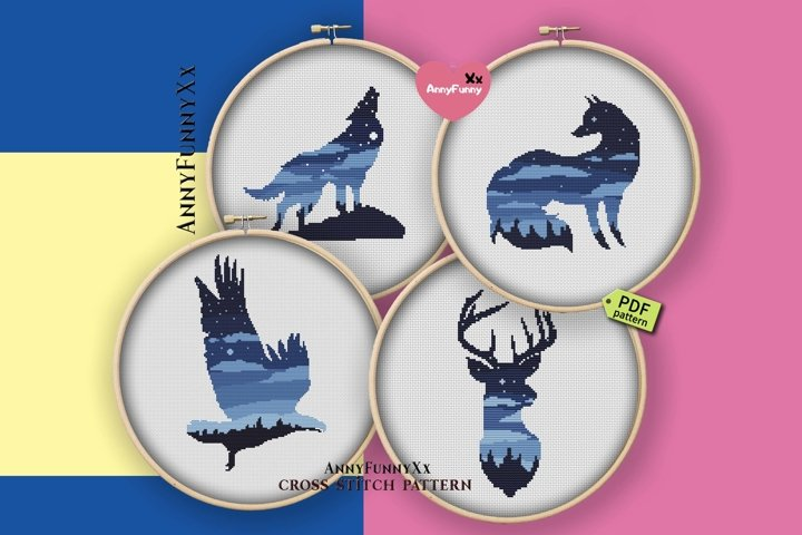 Cross stitch pattern animal set. Wolf, deer, eagle, fox.