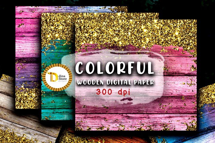 Digital papers- colorful wooden papers with gold glitter