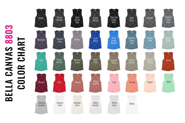 Bella Canvas 8803 Muscle Tank Top Mockup Color Chart