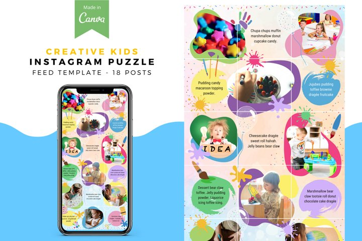 Creative kids, Canva Instagram Puzzle Feed Template