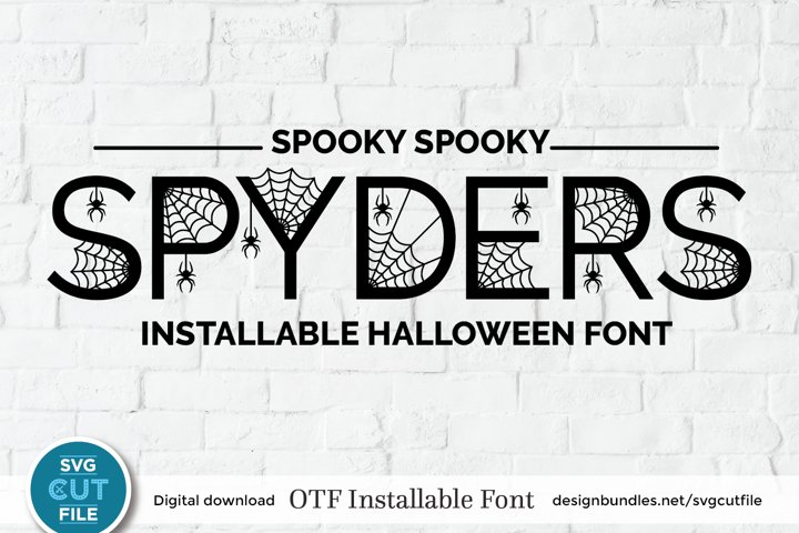 Halloween Spider font, an OTF file with spiderweb letters