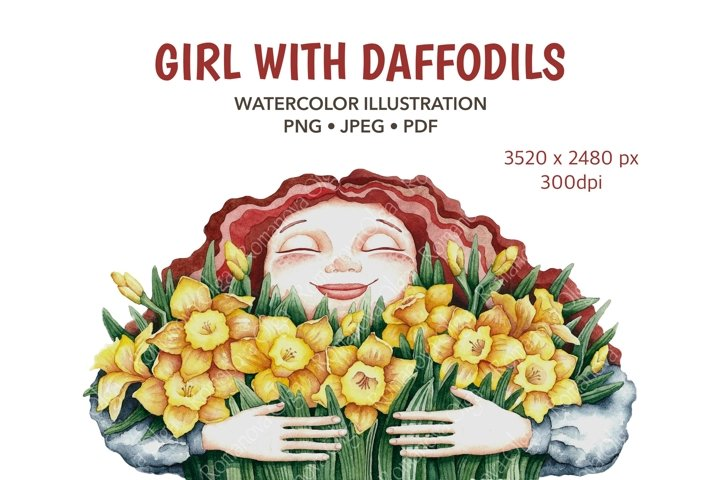 Girl Watercolor clipart Mother day Sublimation Daffodils