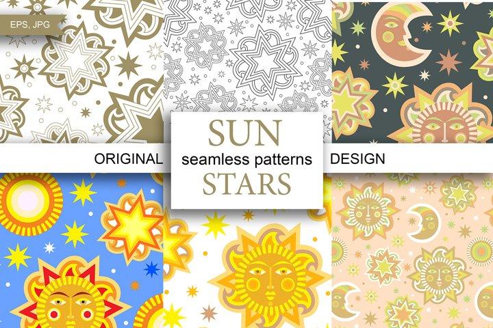 Sun and stars 12 seamless patterns
