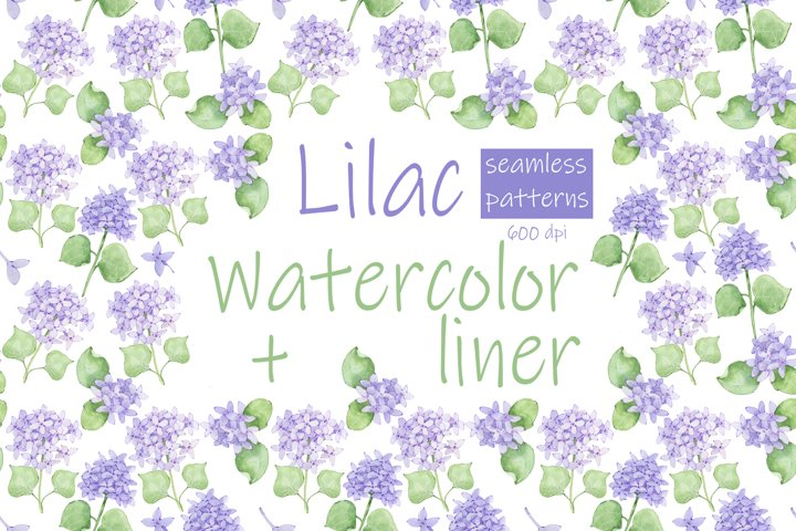 Lilac flowers. Seamless patterns.