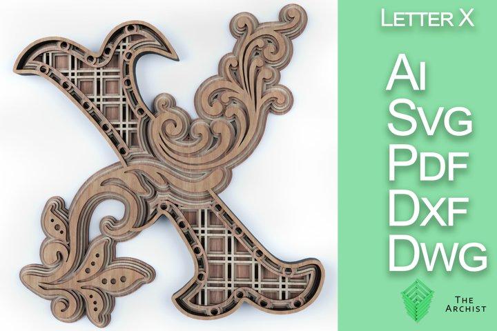 Multilayered svg, alphabets Letter X artist floral letter