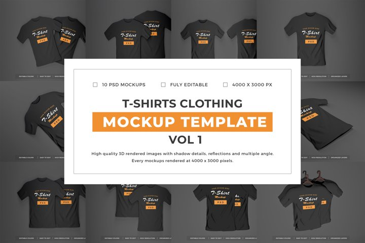 T-shirts Mockup Template Bundle Vol 1