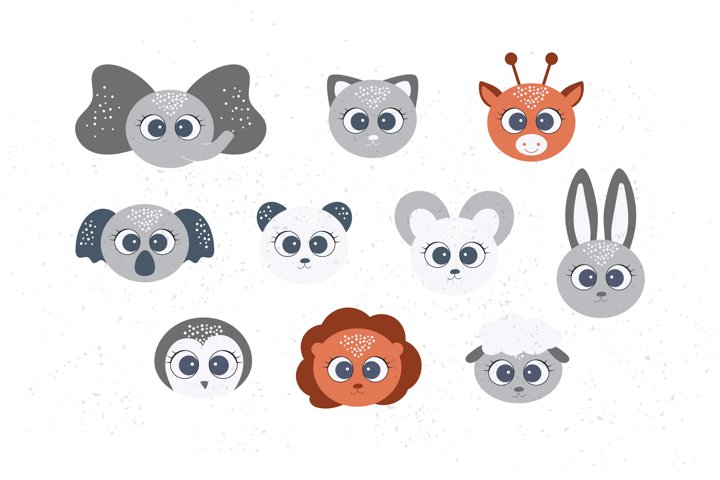 Cute Animal Faces SVG, Baby animal clipart