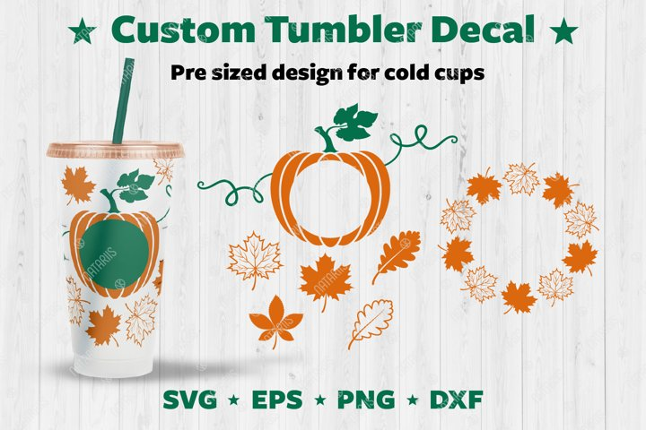 Autumn design set to personalize your Cold Cup Tumbler.