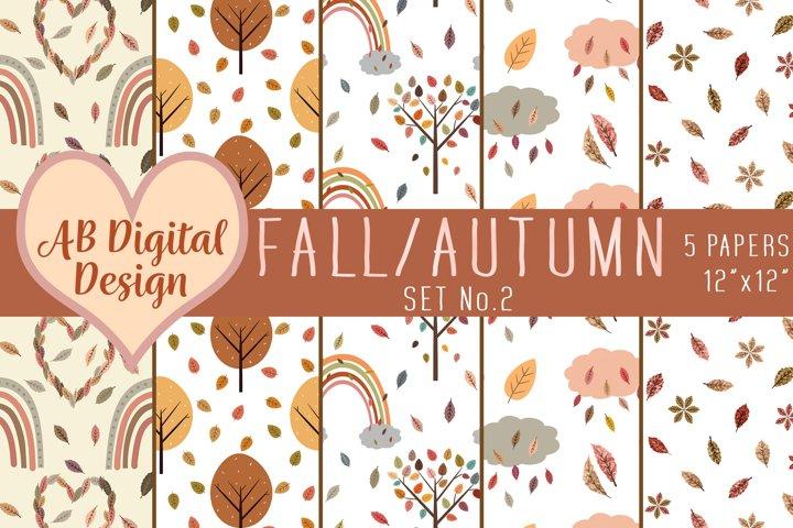 Fall Digital Paper Background, Autumn Trees, Leaves, Rainbow