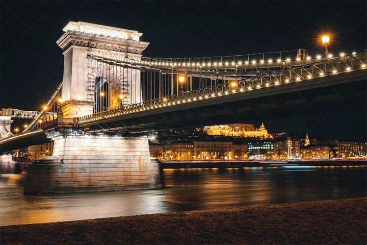 Budapest Chain Bridge in the Night