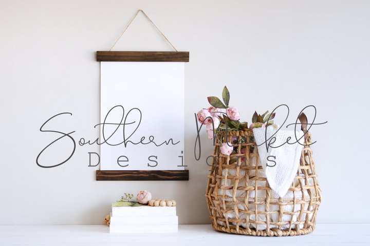 Spring Canvas Banner Hanging Sign Mock Up Styled Stock Photo