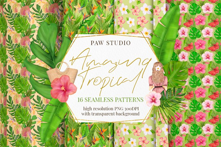 Tropical Seamless Patterns. Exotic Transparent Background