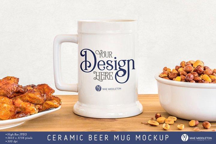 Ceramic Beer Mug Mockup | styled photo