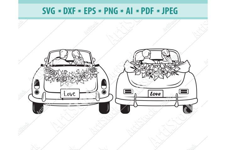 Weeding car Svg, Newlyweds Svg, Honeymoon Png, Eps, Dxf