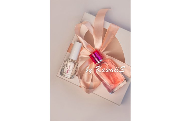 Gift box mockup perfume bottle nail polish template cosmetic
