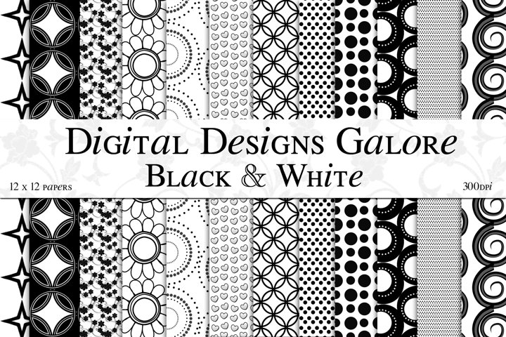 Black & White Digital Paper Pack
