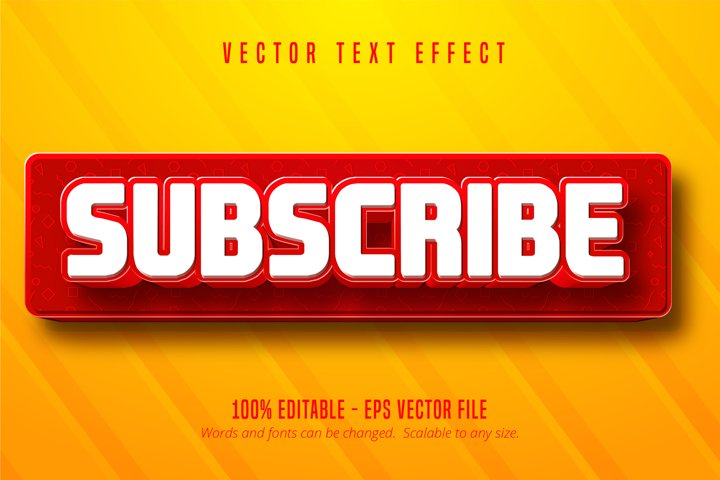 Subscribe text, social media button style text effect