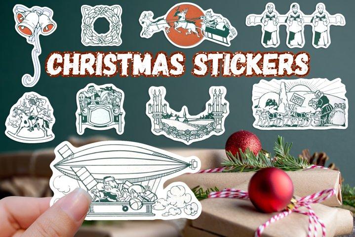 Christmas Stickers Vintage Santa