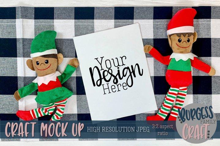 Christmas elf with vertical certificate III  Craft mock up