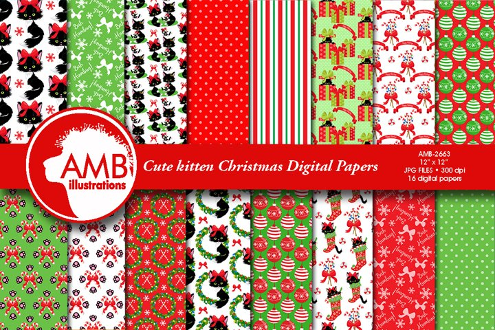 Cute Christmas cat digital papers AMB-2663