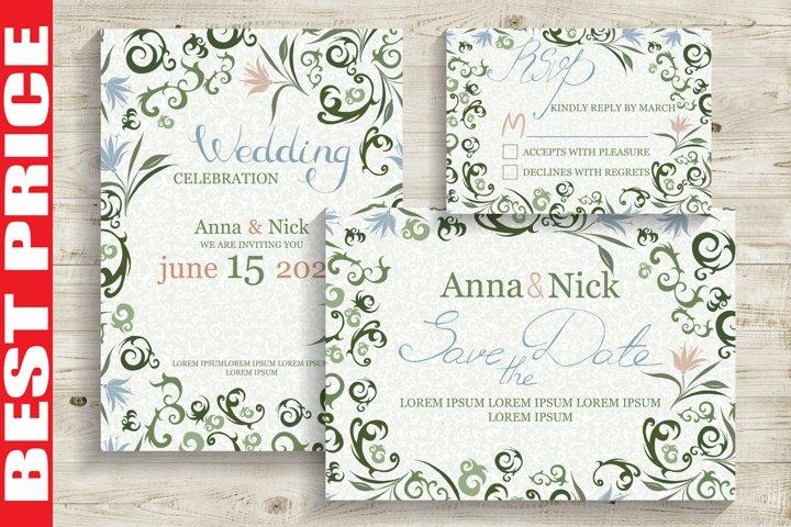 Green Wedding Invitation Cards
