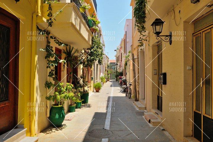 Street in city of Rethymno, Crete, Greece
