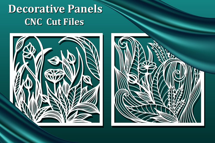 Laser cut Panels, files for CNC. Floral decorative pattern