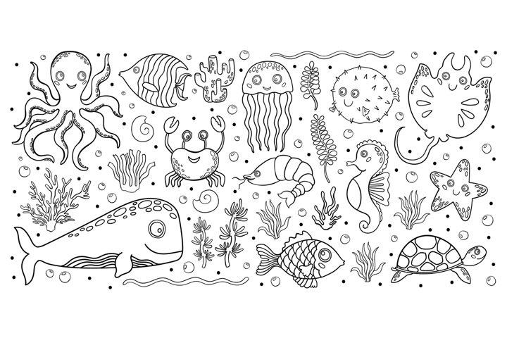 Animal ocean marine set, line black color