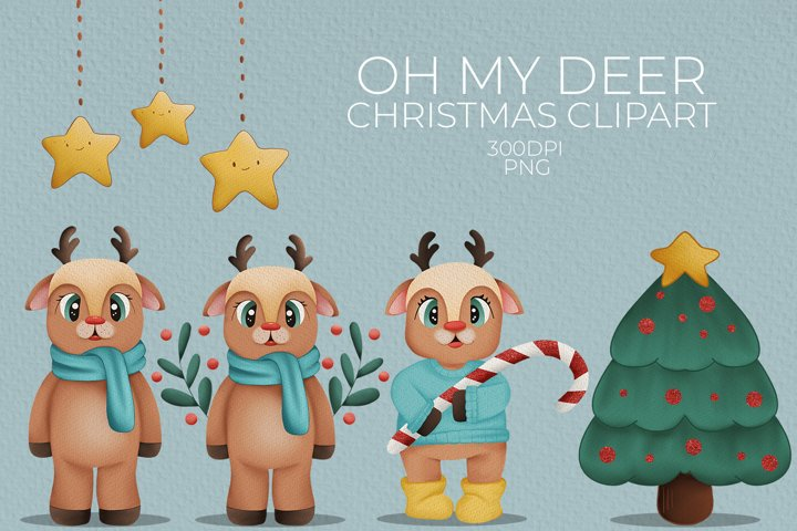 Oh my deer Cute Clipart Christmas Clipart Illustrations