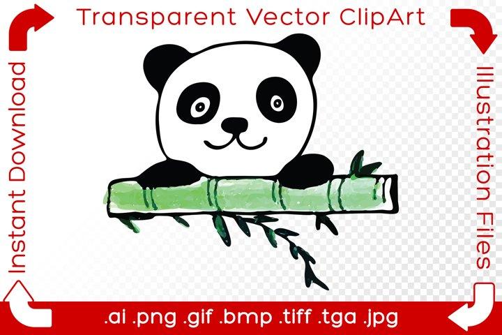 Panda Vector ClipArt Illustration Baby Bear with Bamboo