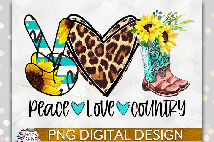 Peace Love Country PNG Sublimation Design