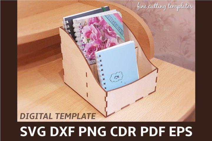 Laser cut notebook box template, desktop cosmetic organizer
