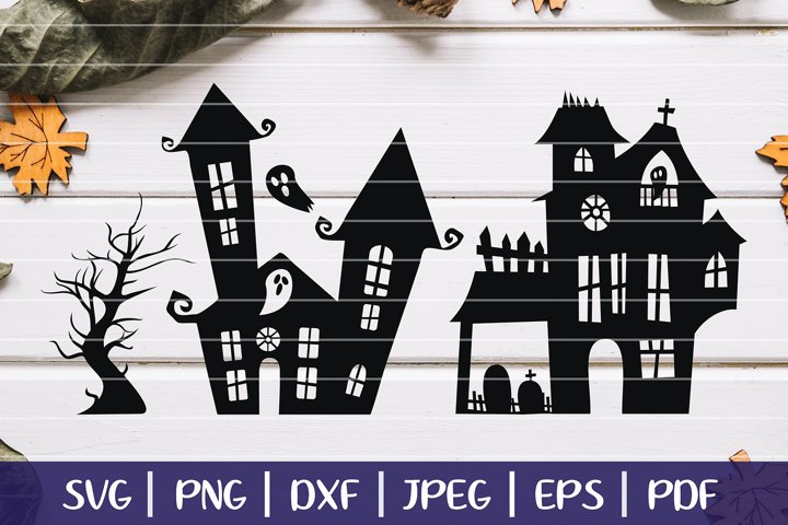 Haunted House SVG Silhouettes, Halloween Haunted Mansion SVG example