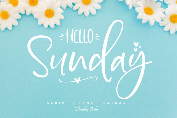 Hello Sunday - Font Duo & Extras Doodle