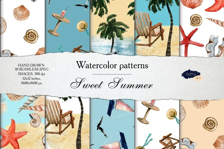 Watercolor summer patterns Digital Paper, Tropic Beach JPEG