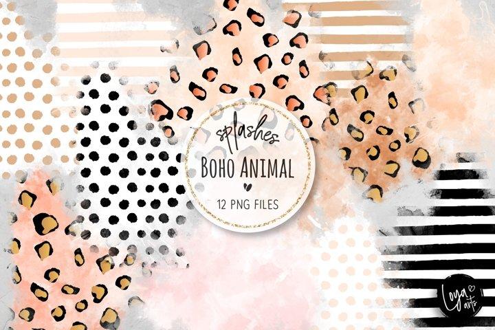 Boho Animal Watercolor Wash Splashes