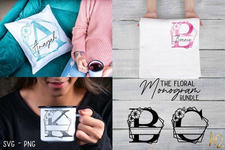 Split Monogram Floral | Flower Frame Letters Bundle set