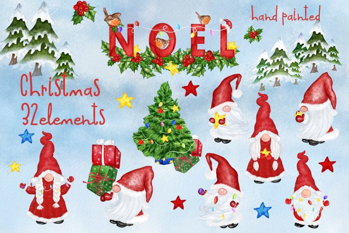 Christmas clipart Gnomes Clipart Cute characters Noel Png
