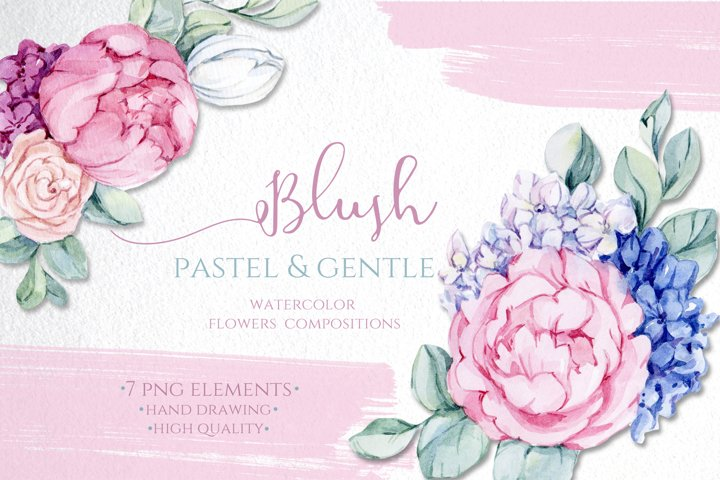 Bloom Blush Pastel Watercolor Flowers Clipart